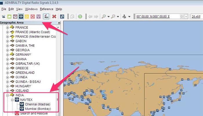 Navtex station information in ADRS