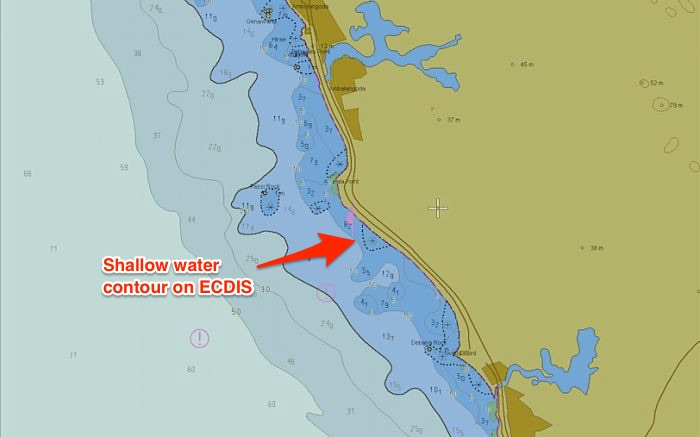 Shallow water contour on ECDIS