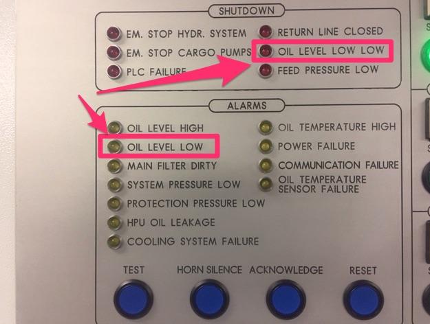 Oil level low alarms on Framo