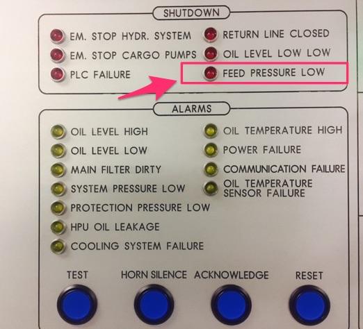 feed pressure low alarm Framo