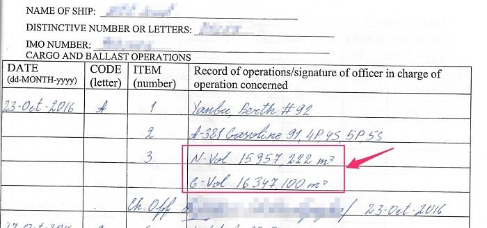 Net Volume gross volume in cargo record book