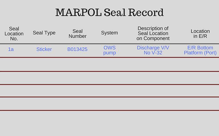 Marpol seal record