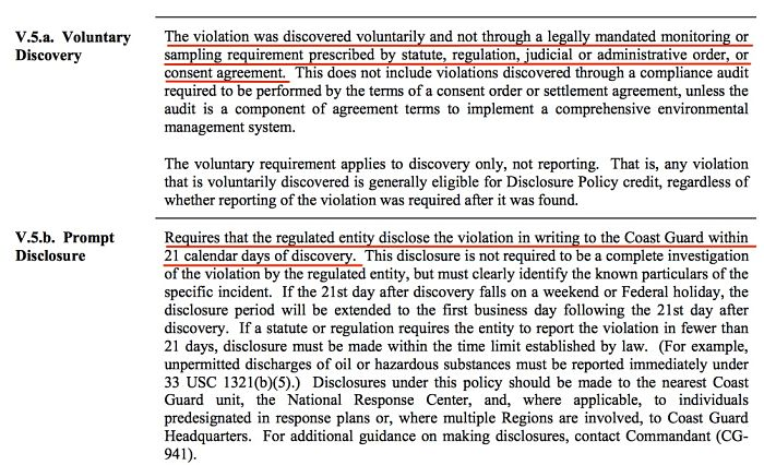 Voluntary disclosure of Marpol Violations